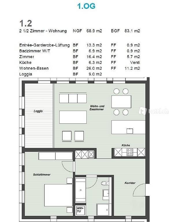 2.5 Zimmer Wohnung zu vermieten in Tuggen - Bild 1/5